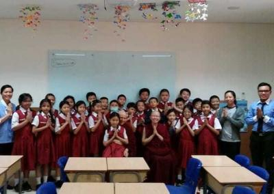 Vens. Chodron and Damcho visit the Ehi Passiko school in Jakarta where Ven. Chodron shares about wildlife at the Abbey.