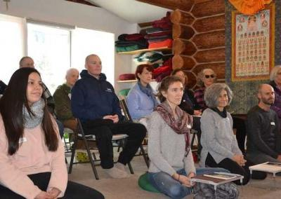 Guests listen intently to Ven. Chodron's talk.