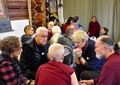 After the talk, guests and residents have chance to discuss the teachings.
