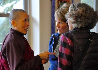 Ven. Pende makes a heartfelt connection with Beth and Karen from Spokane. Kuni and Ven. Yeshe have a wonderful laugh together.