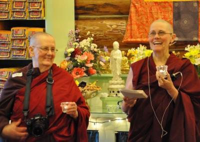 Ven. Jigme and Ven. Chonyi start off with the light offerings in honor of the founder of our lineage Lama Tsongkhapa
