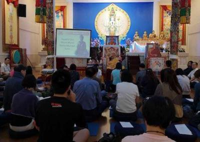 """At the Amitabha Buddhist Centre, students attend a weekend workshop on """"The Foundation of Buddhist Practice."""""""