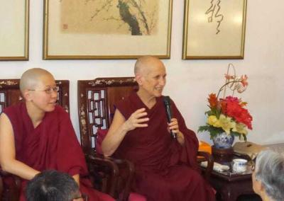 Dr. Ang Beng Choo, an old friend, invited Ven. Chodron and Ven. Damcho for lunch dana. Afterwards, like in the time of the Buddha, Ven. Chodron gives a Dharma talk.
