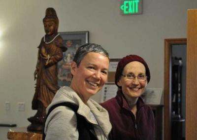 Fabienne and Ven. Tsepal discuss the Vajrasattva practice.