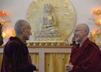 Ven. Chodron welcomes Ven. Gache, who is here for the one-month retreat.