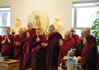 The sangha receives a food offering from our guests, and we all share in the food offering prayer.