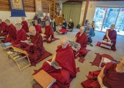 "On Christmas Day, just before the one-month retreat began, the community enjoyed our annual recitation of Shantideva's ""Engaging in the Bodhisattva Deeds."""