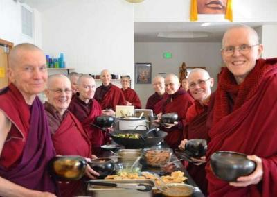 The sangha is thankful for the support, for the nourishing food, and joy that that is shared with them throughout the whole retreat.