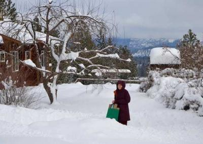 Ven. Sangye Khadro picked up packages that were left at Tara's Refuge.