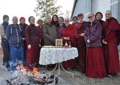 After the fire puja, we gather around the outside altar feeling refreshed and thankful.