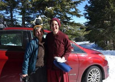 Kathy Endo drives Ven. Tsepal to the airport on her way to Taiwan where she will train for six weeks and take her bhiksuni ordination.
