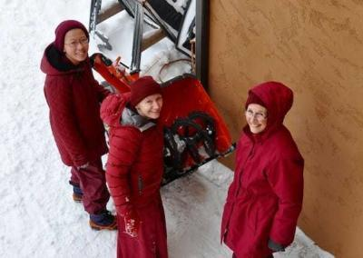 Vens. Damcho, Samten, and Tsepal are our nun snow-blower team!