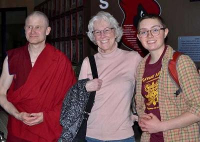 Ven. Losang, Susan, and Em arrive at NIC early to attend Ven. Chonyi's evening talk.