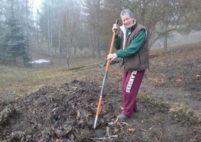 Sally offers supplies and labor to establish a new a raspberry path.