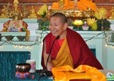 "Geshe Lhundup taught once a day from Chandrakirti's ""Supplement to the Middle Way."""