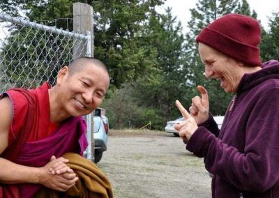 "Ven. Chodron has a ""final"" question shortly before Geshe-la's departs."