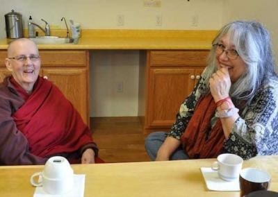 Ven. Jigme connects with Cheri, who has been very active in helping with our prison Dharma outreach