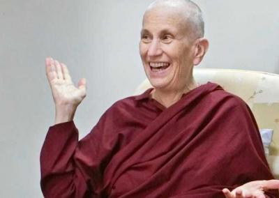 Ven. Chodron enjoys her conversation with Ven. Wuyin; the two abbesses have a lot to share.