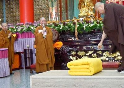 The monastics receive a training in how to make their beds!