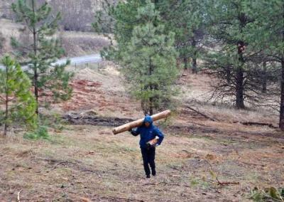 man carrying log in forest