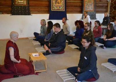 Ven. Jampa leads the students in calm abiding meditation and a short reflection on compassion.