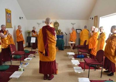 The sangha gathers to open the ceremony with the Incense Offering Chant.