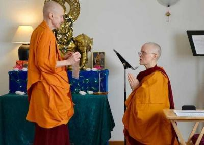 Ven. Sangye Khadro and Ven. Tarpa recite a declaration of purity to start the ceremony.