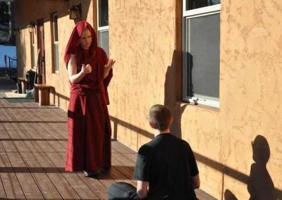 nun and layperson debating