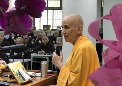 Ven. Chodron gives another talk to all the new bhikshus and bhikshunis.