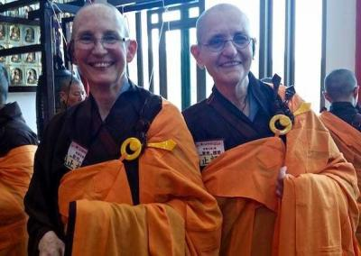 Ven. Tsepal and Ven. Bonnie (a nun that Ven. Chodron has known for many years) at the full ordination in Taiwan.