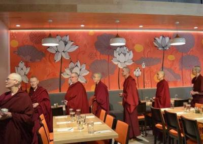 Abbey friend Kuni Colliton opened a Thai restaurant in Spokane and invited Abbey monastics to bless the facility.