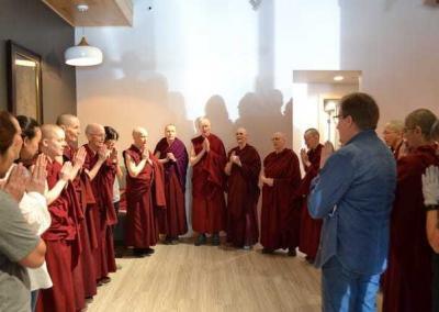 Abbey monastics recite prayers at Kuni's Thai Cuisine.