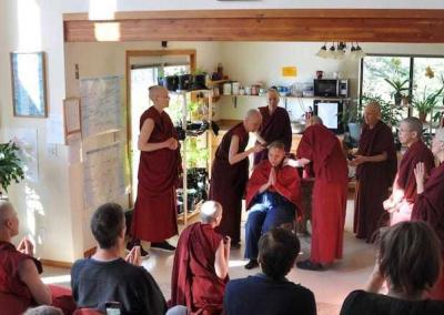 All the nuns participate in the head shaving ceremony, witnessed by our lay guests.