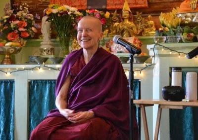 After the ordination, the community asked Ven. Chodron and Ven. Sangye Khadro to share about their early monastic lives. Ven. Khadro goes first.