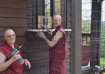 two smiling nuns building a wire enclosure