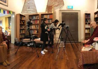 The video team sets up to record Ven. Chodron's talks for Nan Tien Institute.