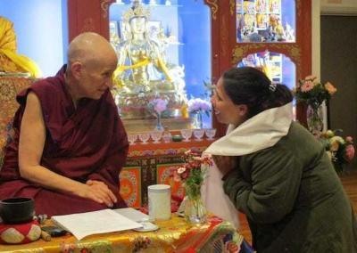 A grateful student connects with Ven. Chodron.
