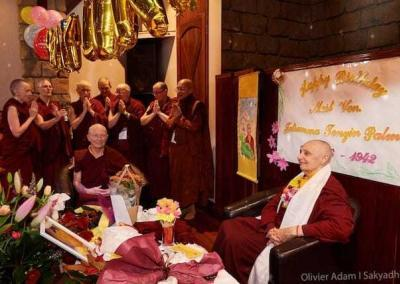 "Abbey nuns lead ""Star-spangled Compassion"" for Jetsunma's surprise birthday celebration."