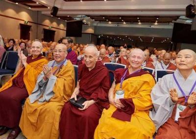 Ven. Chodron has a front-row seat, along with Sakyadhita founder Ven. Karma Lekshe Tsomo and Jetsunma Tenzin Palmo.