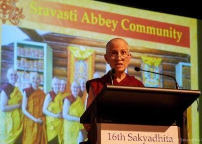 She teaches on developing communities based on the Buddha's six harmonies.