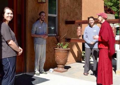 nun talking with lay people