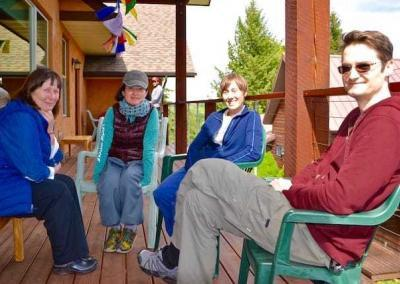 Discussion groups enjoy the spring weather as well as the Dharma.