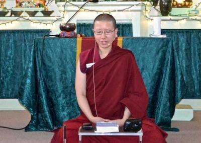Ven. Damcho skillfully leads the Sharing the Dharma Day meditation.