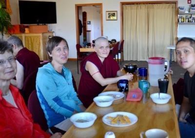 Dharma discussions at every meal. Here Inge, Laresa, Ven. Jampa, and Sam are sharing.