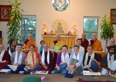 Participants make a formal request to receive training at Sravasti Abbey and happily pose for the group picture.