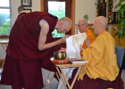 When Ven. Choepel from Nalanda Monastery in France visited last summer he was a layperson. He thanks Ven. Chodron for the opportunity to train at Sravasti Abbey.