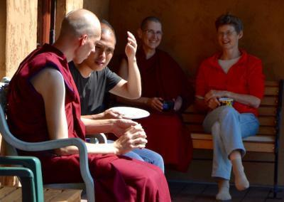 Ven. Choepel, Sam, Ven. Chokyi from Canada, and Inge from Holland enjoy personal discussions on monastic life.