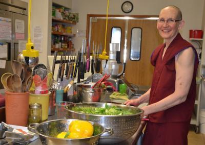 Ven. Tsepal is one of several residents who prepare delicious and nourishing lunches during the program.