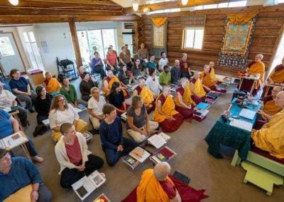 nuns and laypeople meditating