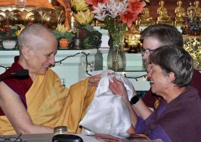 Ven. Chodron receives a BIG thank you from both Kathys.